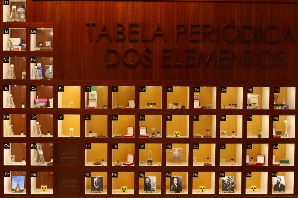 Na Sala Mendeleev, um dos espaços de ciência que serão apresentados no Projeção Virtual em julho, os elementos da tabela periódica são aproximados do público de forma lúdica.